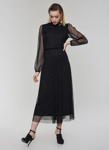 People By Fabrika Tül Midi Elbise Siyah